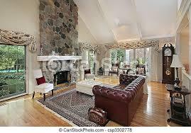 wohnzimmer mit kamin aus stein canstock