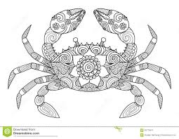 Hand Drawn Crab Zentangle Style For Coloring Book Adult Stock