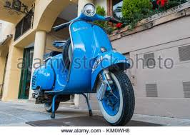 Classic Blue Vespa 150 Super Parked In Spanish Street