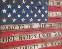 Wooden American Flag Pledge Of Allegiance Rustic Barn
