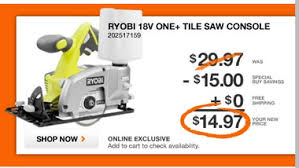 Ryobi Tile Saw 7 by Home Depot Ryobi 18 Volt Tile Saw 14 97 Free Shipping Today