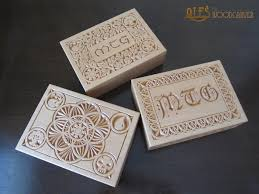 magic edh deck box magic the gathering chip carved edh deck boxes by