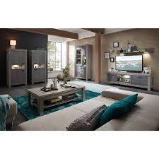 sideboard gronau 55 esszimmerschrank in betonoxid und haveleiche nb bxhxt 196x100x42cm