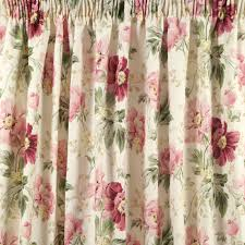 Sanela Curtains Dark Turquoise by Peony Garden Cranberry Cotton Pencil Pleat Ready Made Curtains