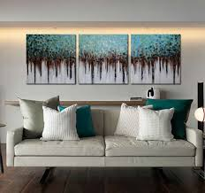 Amazon ARTLAND 100 Hand Painted Unframed Wall Art Blue Forest 3 Piece Modern Abstract Oil Painting On Canvas For Living Room Artwork