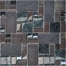 Porcelain Glass Tile Wall Backsplash Grey Crystal Art Pattern Design Mosaic Tiles Washroom