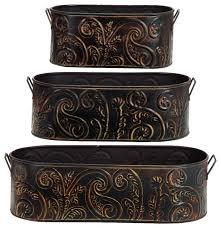 Woodland Imports Set of 3 Metal Planters Antique Bronze Handle