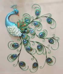 Pretty Peacock Wall Art Decor Metal Colorful Hanging Bird Sculpture 30 New