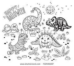 Coloring Book Happy Halloween Dinosaurs Set Of Characters Zombie Pumpkin Skeleton Mummy And