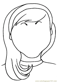 Blank Faces Coloring Page Girl With Hair