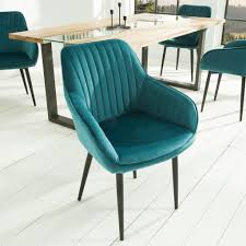 edler design stuhl turin samt türkis mit armlehne real de