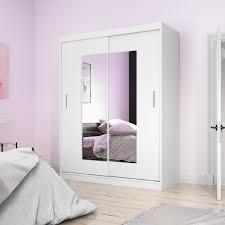 selsey kleiderschrank vaniva mit spiegel und schiebetüren in weiß matt 150 cm