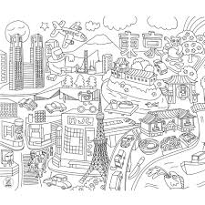 Cities Coloring Pages Simple City