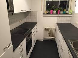 alte küche verschönern küche fronten weiss dunkelgrau