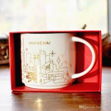 Authentic Starbucks Yah Shanghai City Mug Christmas Collection Vision 14oz Golden Outline Ceramics Coffee Cup Gift Box Travel Mugs