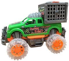 100 Dinosaur Truck Hauler Monster With Cage Light Music Jurrasic Off
