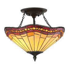 Tiffany Style Lamps Canada by Quoizel 17 In W Vintage Bronze Tea Stained Glass Tiffany Style