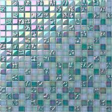 Iridescent Mosaic Tiles Uk by Lustrous Pearl Aqua Green Iridescent Glass Mosaic Tiles Sheet