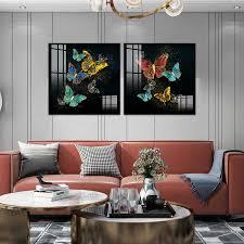 blau grün schwarz rot gold schmetterling abstrakte poster nordic leinwand druck wand kunst malerei moderne bild wohnzimmer dekoration
