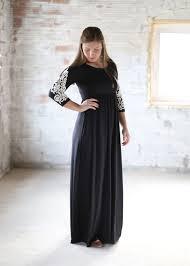 crochet sleeve black modest maxi dress modli