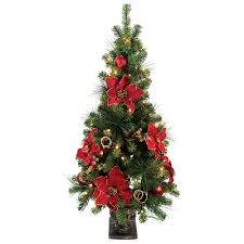 4 Ft Pre Lit Christmas Tree by Home Accents Holiday 4 Ft Poinsettia Potted Artificial Christmas