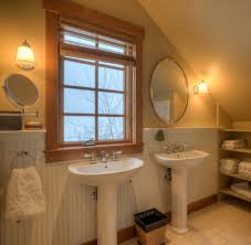 Double Farmhouse Sink Bathroom by Double Pedestal Sink Bathroom Farmhouse With Built Ins Bath