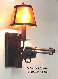 dx803 rustic stick em up wall sconce with replica pistol