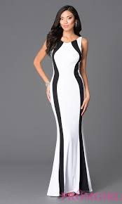 long white and black prom dress promgirl
