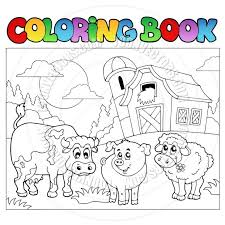 Cartoon Coloring Book Farm Animals By Clairev Toon Vectors Eps Animal Pages Medium Size