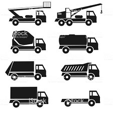 Black Detail Icons Types Lorrry Set 8 Trucks Isolated Industry ...