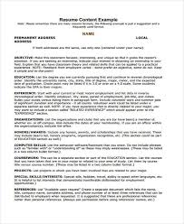 Resume Content Example Student Summer Job1