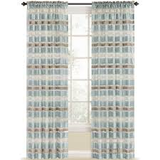 Striped Sheer Curtain Panels by Shop Style Selections Duran 84 In Mineral Blue Polyester Rod