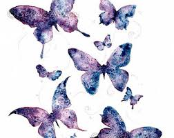 Watercolor Butterfly Art Purple Print Butterflies Painting Wall Sarah Alden