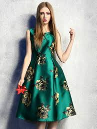 tantalizing green retro floral high waist sleeveless midi skater