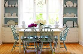 After Painting The Table And Cabinets White Homeowner Gave Chairs Back Of Shelves A Few Coats Coordinating Blue Paint