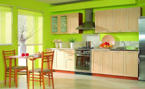 Ravishing Green Wall Painted Kitchen Decor With Maple Wood Cabinet Also Mount Range Hood Plus Brown Wooden Dining Sets
