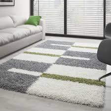 hochflor langflor wohnzimmer shaggy teppich florhöhe 3cm grau weiss grün größe 60x110 cm