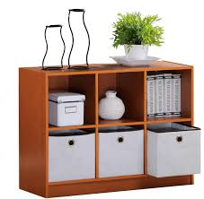 Decorating Fabric Storage Bins by 3 Level Bookcase Cabinet Organizer 3 Storage Bins Shelves 6 Cubes