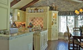 Kitchen French Country Colors White Marble Top Wooden Cabinet Decor Themes Ideas Utensils Hooks Lighting Brown