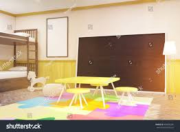 Childrens Room Large Blackboard Yellow Table Stock ...