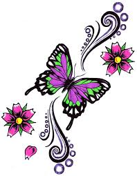 Lovely Butterfly Flowers Tattoo Design Ankle