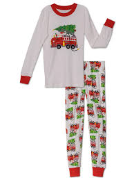 100 Fire Truck Pajamas Saras Prints Saras Prints Big Boys Natural Santas Truck