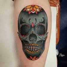 Traditional Sugar Skull Tattoo For Women