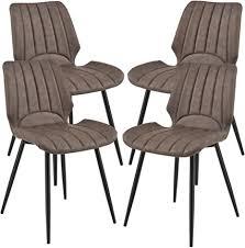 en casa 4x stühle dunkelbraun gepolstert in wildlederimitat lehnstuhl esszimmer stuhl polsterstuhl im 4er set lounge set