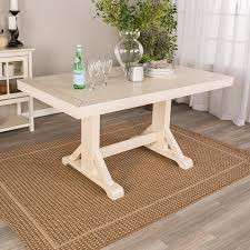 Walker Edison Furniture Company Antique White 60 In Millwright Wood Dining Table