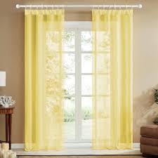 topfinel voile vorhaenge mit kraeuselband in leinen optik transparent fuer wohnzimmer schlafzimmer fenster einfarbige gardinen gelb 2er set
