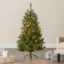 Green Spruce Artificial Christmas Tree With Clear White Lights