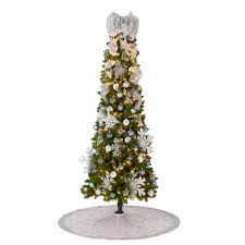 Unlit Christmas Trees Walmart by 7 U0027 Pre Lit Brinkley Pine Christmas Tree With Red And Silver