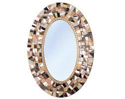 Brown Mosaic Bathroom Mirror by Brown Wall Mirror Oval Mosaic Mirror Decorative Mirror