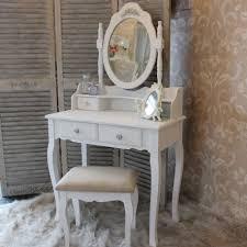 miroir de chambre shabby chic white dressing table set mirror stool bedroom